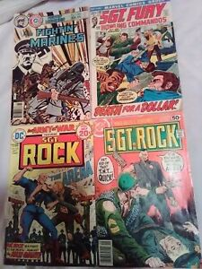 Lot: 4 bronze age war comics, sgt. rock, sgt. fury, fighting marines, DC, MARVEL