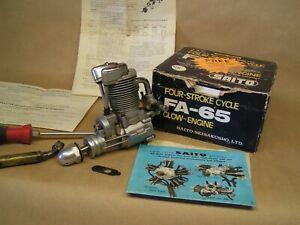 SAITO FA-65, 4-stroke, great compression, w/muffler, box, paperwork etc;