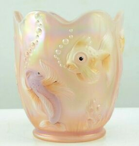 "Fenton Pink-Peach Iridized Opalescent Glass Atlantis Koi Fish Vase 6.5""H  1980's"