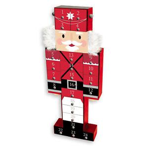 Christmas Wooden Advent Calendar - 43cm Nutcracker Design - 24 Drawers