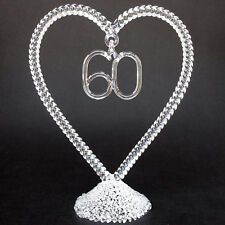 60th Sixtieth Wedding Anniversary Glass Cake Top Topper