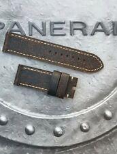 OFFICINE PANERAI OEM 26mm CALF VINTAGE DARK BROWN ECRU STRAP FOR TANG BUCKLE