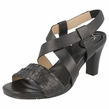 Ladies You by Crocs Black leather heeled sandals  MARJESS  UK 8 (US 10)
