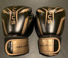 Liberlupus Boxing Gloves Premium Leather Black & Gold - 2 x 10oz - Brand New