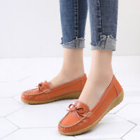 Womens Slip-on Loafers Casual Round Toe Moccasins Walking Driving Flat Leather