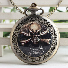 Classical Motorcycle & Skull bronze steampunk ceramic pocket watch necklace.