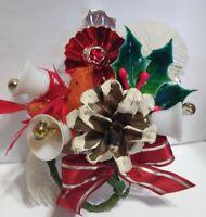 Christmas Corsage INDENT Mercury Glass Bead Cardinal Bird Bells package Tie on
