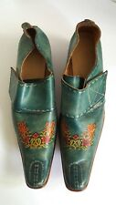 Unique foam green pointy strappy womens western floral painted shoes booties 7