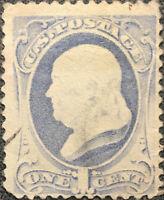Scott #134 US 1870 1 Cent Franklin Bank Note Stamp