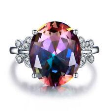 925 Silver 10 * 14 Oval Cut Gemstone Birthstone Butterfly Ring Jewelry SZ 6-10