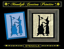 """Halloween Stencil~Vintage Style~MAKING HERBAL TEA~4.5""""H by 3""""W-Witch & Crow"""