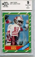 1986 Topps Jerry Rice RC San Francisco 49ers #161 - BCCG 9 NM-MT JUST LOOK