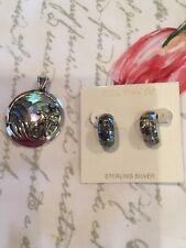 Pendant And Earring Set Sterling Silver And Abalone
