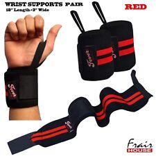 Polso Wraps Peso Sollevamento supporta Palestra Training Mano Pugno Cinturini Banda COPPIA ROSSO
