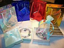 50 European Beads Charm Bracelet Gift Box & Bag Lot Set Gift Wife Daughter Mom