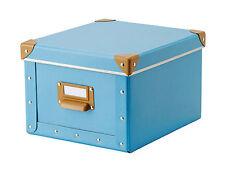Vintage look~Blue/brown storage box lid/label embellished with metal edging-NEW