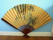 More details for vintage wall art large chinese wall fan tiger signed & stamped .. postage £11.99