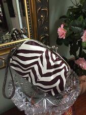 Coach Bag Wristlet Zebra Framed Kisslock Cosmetic Satin Black White F42988  B16