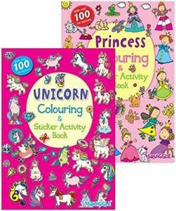 2x UNICORN PRINCESS A4 CHILDRENS COLOURING STICKER ACTIVITY LEARNING BOOK BOOKS
