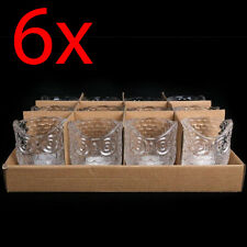 SET OF 6 OWL TEA LIGHT HOLDER GLASS HOME DECORATION ORNAMENT GIFT WEDDING NEW