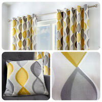 Fusion LENNOX Grey & Yellow 100% Cotton Ready Made Eyelet Curtains & Cushions