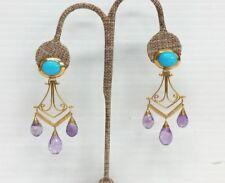 18k Yellow Gold Turquoise Amethyst Earrings