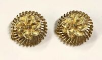 Beautiful Gold Tone Signed LISNER Spiral Swirl Floral Round Clip On Earrings