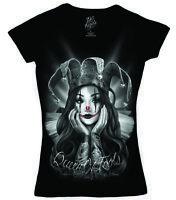 DGA David Gonzales Art Angels Queen of Fools Clown Woman Tattoos V Neck T Shirt