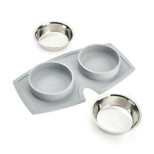 VacuMatt Feeding Mat Double Diner Stainless Steel Pet Bowl 850ml x2 | Non-Slip