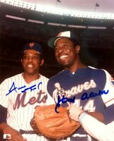 Willie Mays / Hank Aaron 8x10 SIGNED PHOTO AUTOGRAPHED (BRAVES HOF) REPRINT