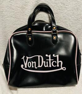 Von Dutch Kustom Made Originals Black Pink Bowling Bag Handbag Purse Rare HTF