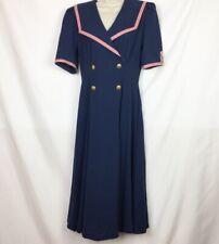 Leslie Lucks Vintage Womens Sailor Dress Sz 8 Navy Blue Nautical Full Skirt