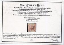 1858 Napoli 1/2 Grano rosa chiaro Sassone 1 - Annullato in cartella CERT.