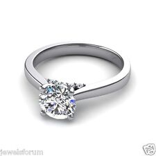 2 Ct Solitaire Diamond Engagement Wedding Ring 14 Kt White Gold Hallmarked