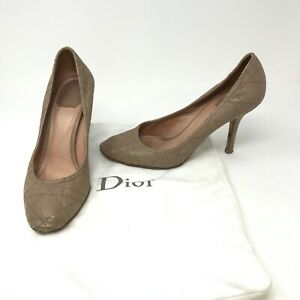 Christian Dior Neutral Beige Quilted Leather Slip On Pumps High Heels Shoes 10
