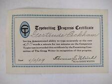 Typist School 1939 TYPEWRITER PROGRESS CERTIFICATE