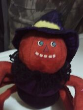 Plush Halloween Spider with Pumpkin Style Face & Wearing Witch Hat