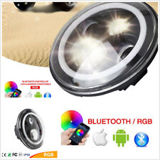 "1X 40W CREE 7"" Headlight Bluetooth RGB LED Light For GMC Pickup Mack Ford Jeep"