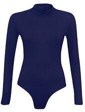 Womens Polo Turtle Neck Ladies Long Sleeve Stretch Leotard Bodysuit T-Shirt Top