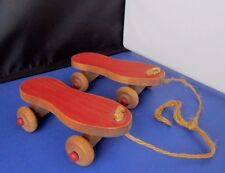 vintage wooden Rollerskates wall hanging or shelf decoration 5 inches