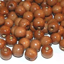 WXL664 Brown 14mm Round Rondelle Wood Beads 16-oz Package (480 Beads)