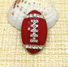Red Rugby Rhinestone Chunk Snap Button for Noosa Necklace Bracelet Ring BUN62