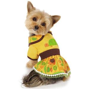 Dog Dress Jungle Bunch Turtle Dog Dress Sundress  Pet XXS-M Summer Yellow