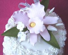 Gum Paste Pink Cattleya Orchid Stephanotis Sugar Flower Cake Decorating Spray