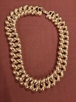 ESTATE VINTAGE SIGNED MONET GOLD TONE HEAVY WIDE LINK CHAIN CHOKER NECKLACE
