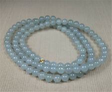 """31"""" Certified Grade A Natural Ice Jadeite Jade Beads Necklace 7.5MM"""