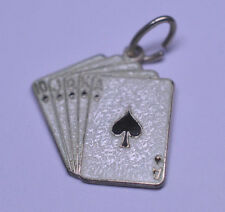 VINTAGE BEAU STERLING SILVER ENAMEL CHARM CARDS ACE SPADES ROYAL STRAIGHT FLUSH