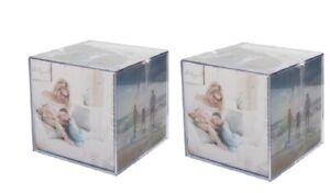 2 x Home Décor Acrylic Photo Cube for 6 Photographs Large 9 x 9 x 9cm Ideal Gift