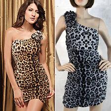 Sexy Leopard Animal Print One Shoulder Ruffled Mini Dress Cinched Ruffled M-XL