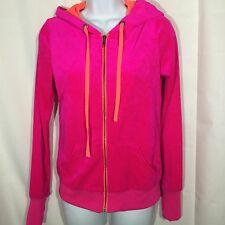 Jenni By Jennifer Moore Velour Plush Bright Pink Hoodie Size Medium Jr